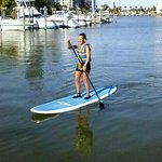 Paddle boarding out back at the Surf n Sand.