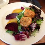 The excellent beet and goat cheese salad.