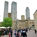 The cafe with the lofty towers of San Gimignano