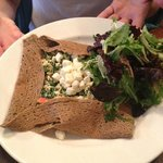Californian Crepes (added feta cheese) and side salad