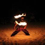Fire dancers - beach fire show.