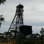 An old mining headframe at Hannans North gold mine.