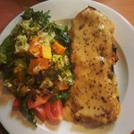 Rarebit with ham and salad (menu offers chutney and salad but I chose not to have chutney)