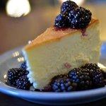 Crustless Cheesecake with Boozy Blackberries