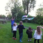 Making bubbles in Greenacres's fantastic kids playground