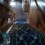 steep stairs in the main lodge