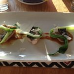 Cornish Mackerel with pak choi, curry paste and coconut shavings
