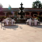 Huge Stone Fountain and Outdoor dining Option