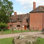 Shows the restored  jacobean timber framing