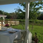 Dining on the patio at the Farmhouse