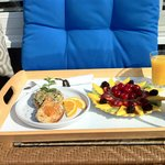 Breakfast tray on balcony