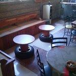 Our unique decor includes our tire rim tables.