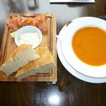 Homemade soup and lox