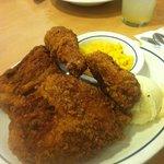 Texas fried chicken corn & mashed potatoes yummy!!