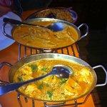 Crevettes curry et Boeuf curry.