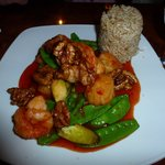 Walnut Shrimp & Scallops w/ brown rice at Confucius