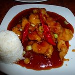 General Tso's Chicken w/ white rice at Confucius
