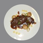 short ribs with potatoes, scallions and vanilla butter with habanero pepper