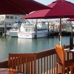 Outside deck alongside the bay-marina