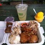 King Combo:shoyu chicken, kalua pig, lomi salmon, TARO mac salad, hanalei poi, TARO mochi cake: