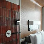 Shower with clear wall, bed & sitting area