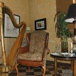 Lyon and Healy harp at La Perla Hotel Boutique