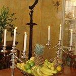 Silver candelabra in dining room