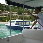 The private boat of Shangrila that you ride from the port to the resort.