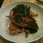 Grassroots Farm Chicken - grilled breast, confit leg & thigh, fried chicken skin, parsnip puree,