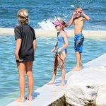 kids loving the rock pool