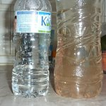 Mineral water on the left, tap water on the right