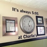 Charlie had a clock set to 5:05