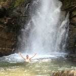 cooling swim at the waterfall