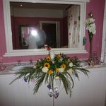 Our wedding flowers at the 2 sinks