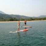 Paddle boarding in front of the retreat property.