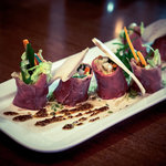 """Spiced Beef Carpaccio & Crispy Vegetable """"Sushi"""" roll"""
