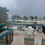 Looking out unto the beach on a stormy day