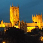 Lincoln Cathedral at night from hotel room