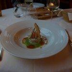 salade de crabe épicée, émulsion de petits pois