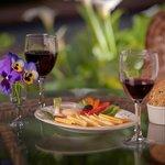 Enjoy 5PM wine and snacks on the back veranda