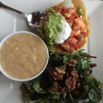 Tuesday Ceviche Tostada special with soup and salad.