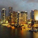 Scene overlooking Miami Skyline from hotel balcony