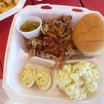 Pulled pork, deviled eggs and potato salad YUM