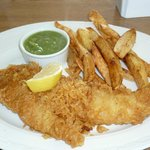 Haddock, Chips and peas, simply the best.