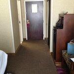 looking at front door of room