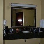 sink and amenities separate from bathroom