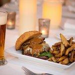 """The Burger"" - 10oz House Made Burger, Roasted Hazelnut Butter, Crispy Pork Belly,"