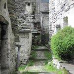 Walking through a stone village