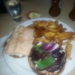 salmon burger and fries