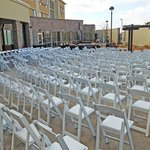 Chairs set up for outdoor wedding